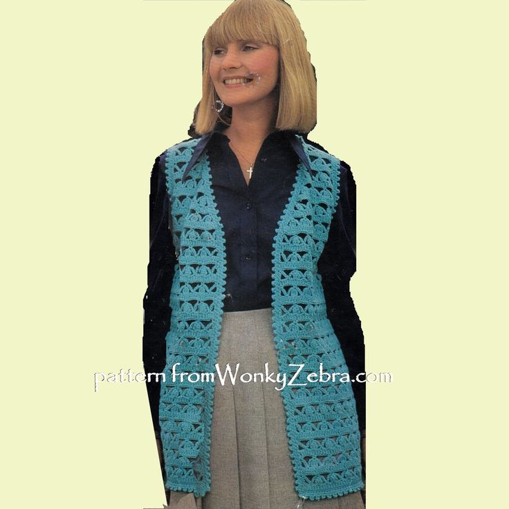 WZ923; great value PDf for TWO waistcoat patterns from the 70s. This one in a beautiful arch stitch lace-see other pins on this board for the other version in granny squares. A pretty summer layered look! Original pattern from EMU3083 in Dk/light worsted weight.Also- either stitch pattern /motif would give you a lovely blanket design too!