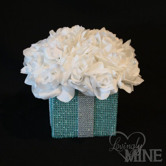 Centerpiece - Tiffany Co. Inspired BLING Box with White Silk Roses - Tiffany Blue and White - Medium Size