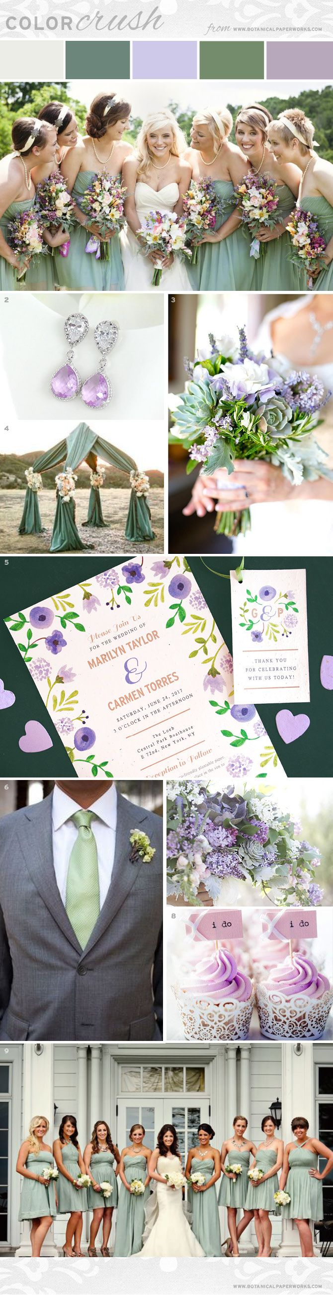Elegant and wildly pretty, the combination of rustic sage, playful lilac and crisp white makes this #wedding inspiration board a swoon-worthy summer & #autumn palette!