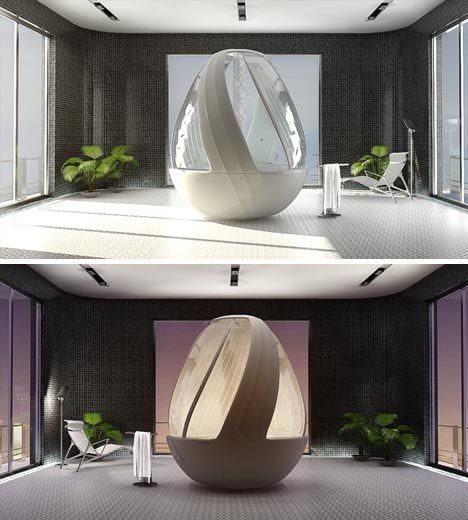 This designer idea by Arina Komarova serves as a bathtub, jacuzzi and hydro-massage stall – a 360-degree all-in-one showering experience.