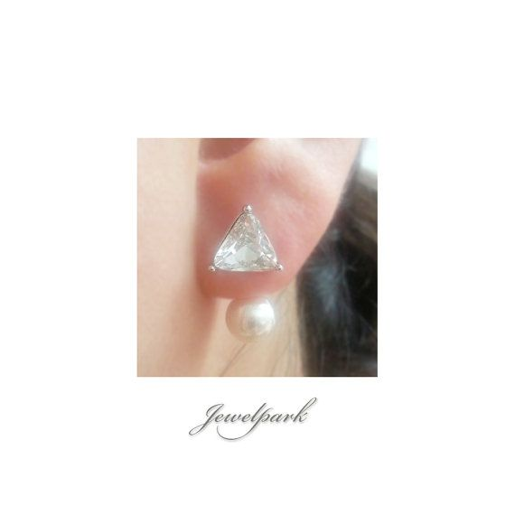 Triangle Fancy Cut Crystal Front and Prarl Back Post Stud Earrings