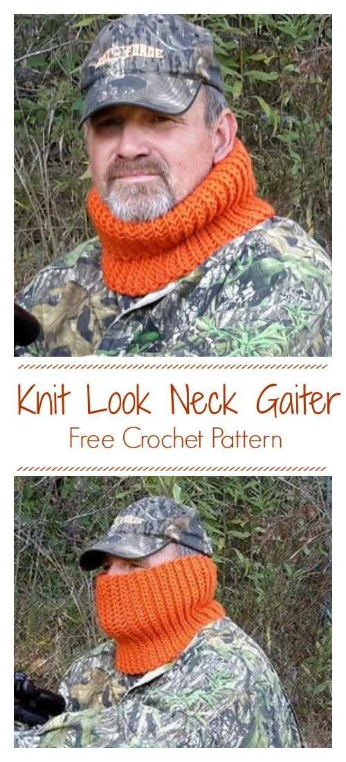 Knit Look Neck Gaiter Cowl Free Crochet Pattern