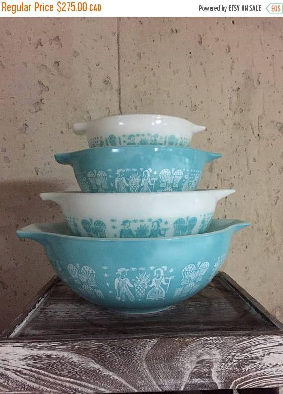 Save 30% Pyrex Butterprint Cinderella Bowls 4 Bowls Vintage