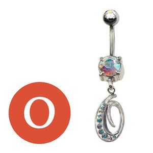 14g-1-6mm-Crystal-Letter-O-BELLY-BUTTON-RING-NAVEL-PIERCING-silver-steel-bar-AB