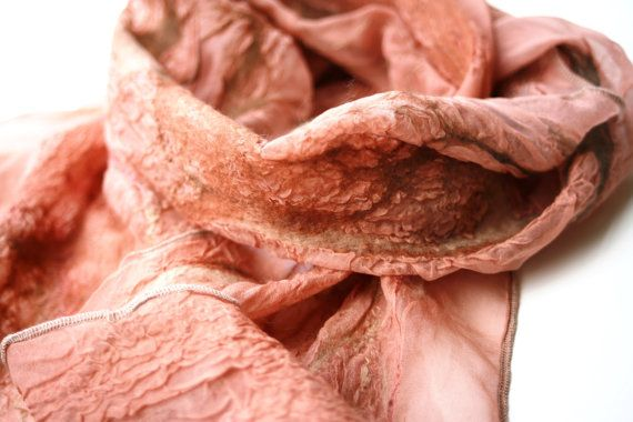 nuno felted silk scarf coral toned tissue silk with by Sarsenet