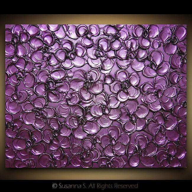 Modern metallic purple floral sculpture on canvas