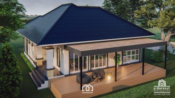 Two Bedroom Single Story House With Full Length Veranda Ulric Home Contemporary House Design Bungalow House Design House Design