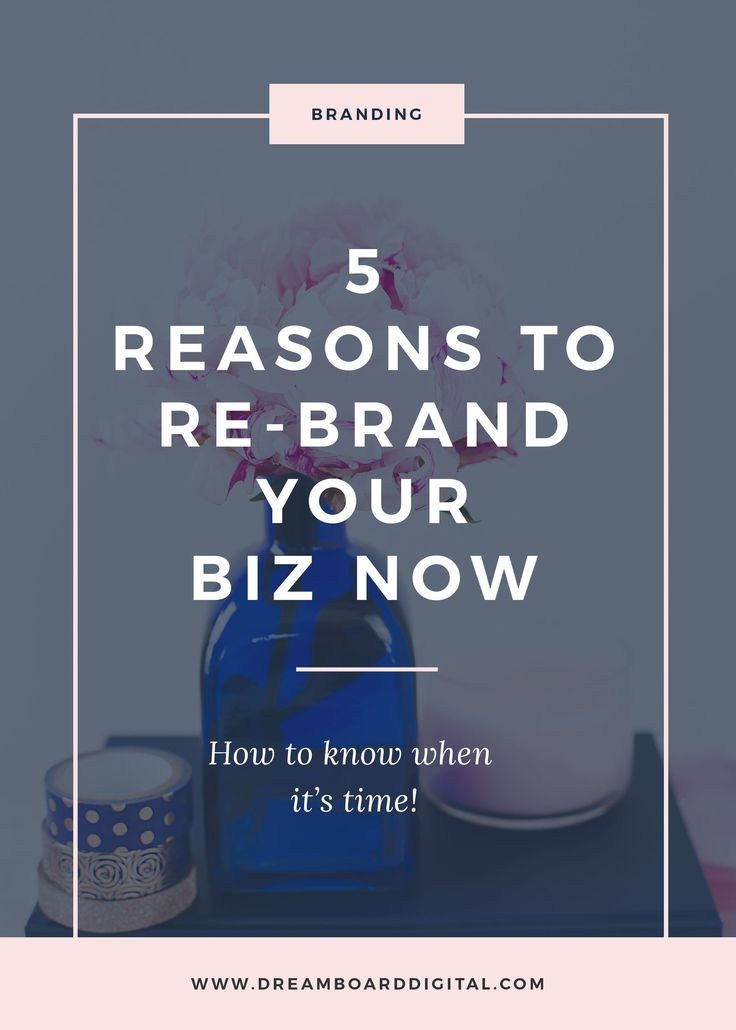 5 Reasons To Rebrand Your Biz Now. Does your current branding feel out of alignment? Perhaps you're ashamed of it or it's just not working for you and producing results. Then maybe it's time to re-brand. Click here to discover the 5 reasons you NEED to re-brand, like now!