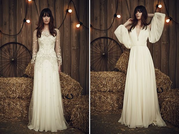 The Apache dress from Jenny Packham's 2017 collection features beautiful sleeves, while the Eddie favours a whimsical look. #weddingdresses #countryweddings #longsleevedweddingdresses #bridalstyle