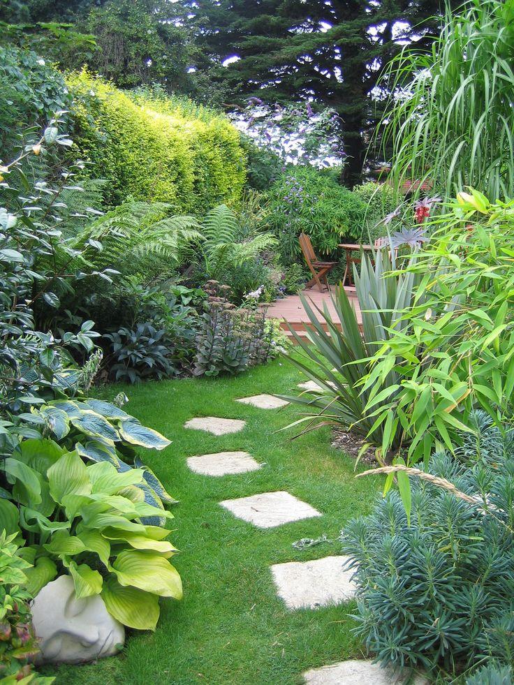 Garden With Pathway And Shrubs Shrub Gardens and Summer garden