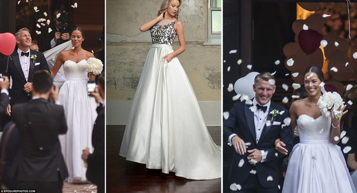 Ana Ivanovic | Get the look | Christina Rossi 4245 | n July 2016 tennis star Ana Ivanovic wed the caption of the German football team Bastian Schweinsteiger.  Her gown was a gorgeous corset bodice and a pleated satin full skirt created by Suzie Turner couture.  The gown was simple but elegant.  We love the we have something similar (Christina Rossi 4245) which can come in all white or all ivory, but ours is an upgrade - it has pockets!