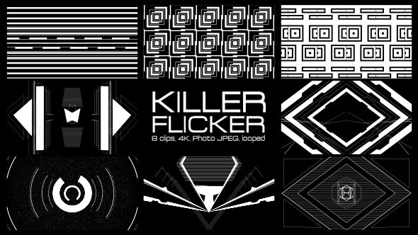 Minimal, but dangerous | Killer Flicker Video Animation | 4K (3840×2160) | 8 clips | Looped | Photo JPEG | Can use for VJ, club, music perfomance, party, concert | #black #blinking #dance #disco #flashing #flicker #looped #minimal #party #rave #shapes #stripes #strobe #vj #white