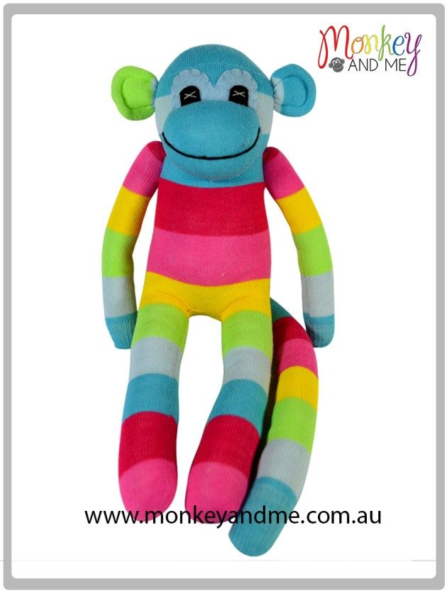 Aqua Pink Yellow Green wide Sock Monkey Adopt over at monkeyandme.com.au #sockmonkeys #gifts #toys #monkey