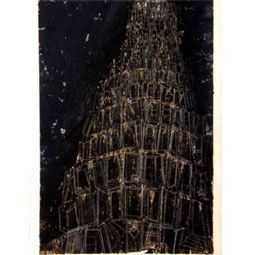"Grafik Scheffmann Monotypi - bemalet tryk ""Tower of Babels"" 1"