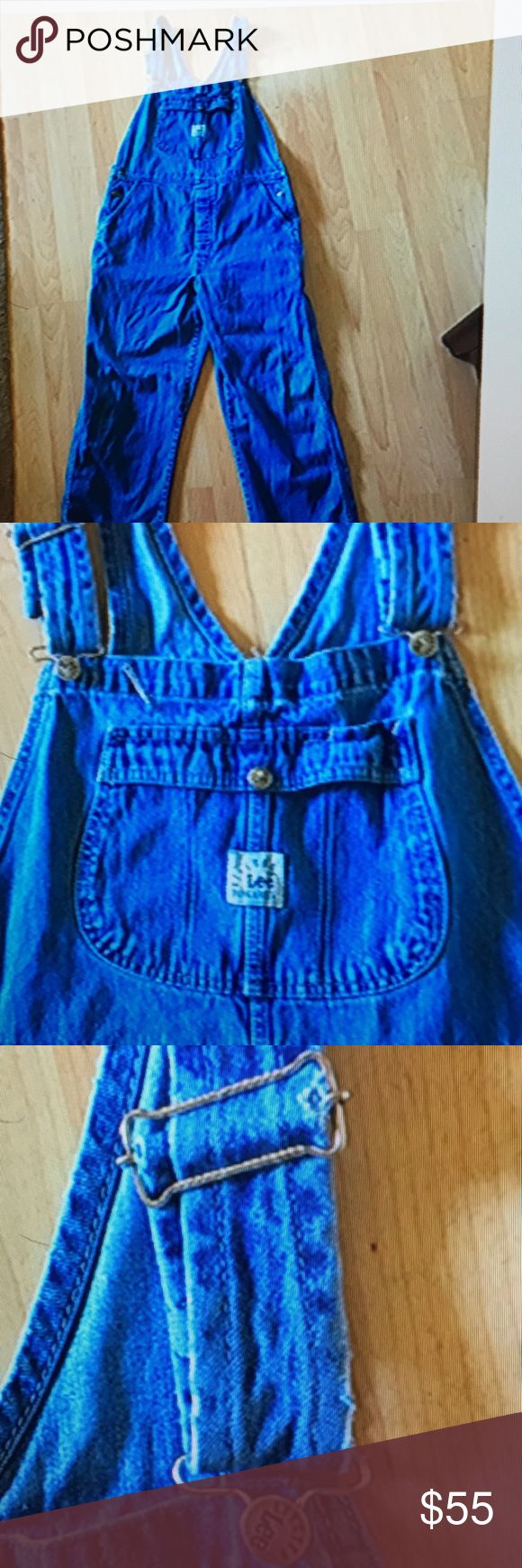 Vintage Lee Dungarees Rivited Overalls Size Xl Overalls. Missing one rivers on the side. In excellent condition these vintage Lee overalls are so comfy.  Very roomy 29 at the inseam, 19' across from hip to hip, 51' top to bottom. No stains, or rips . Riveted Lee Dungarees Jeans Overalls
