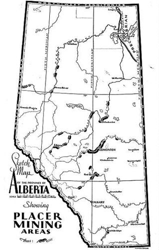 Alberta Gold Deposits - a limited amount of placer gold was mined in Alberta in the early years - some right within the Edmonton city limits, mostly of the 'fine' flour type of gold.
