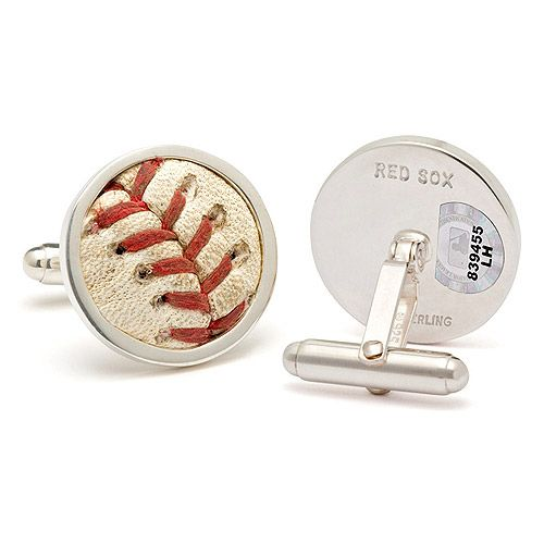 Boston Red Sox Used Baseball Cuff Links: Made from an MLB authenticated game from a used Red Sox baseball.