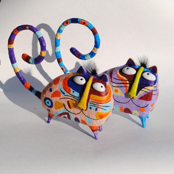 Cat figurine, paper mache cat statuette, holder for rings