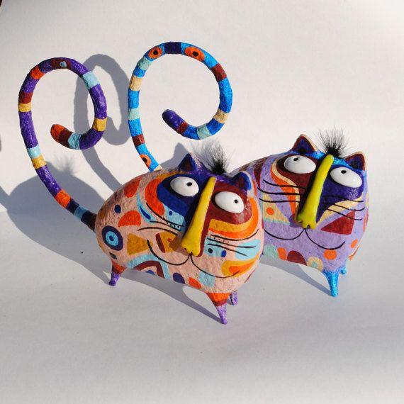 Estatuilla de gato, estatuilla de gato de papel maché, soporte para anillos