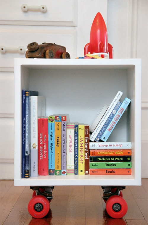 DIY skateboard book cubby... Could we do this with the coffee table?!?