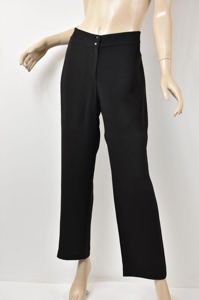 Babette Sf Solid Black Crepe Seamed Yoke Back Straight Leg Pants M