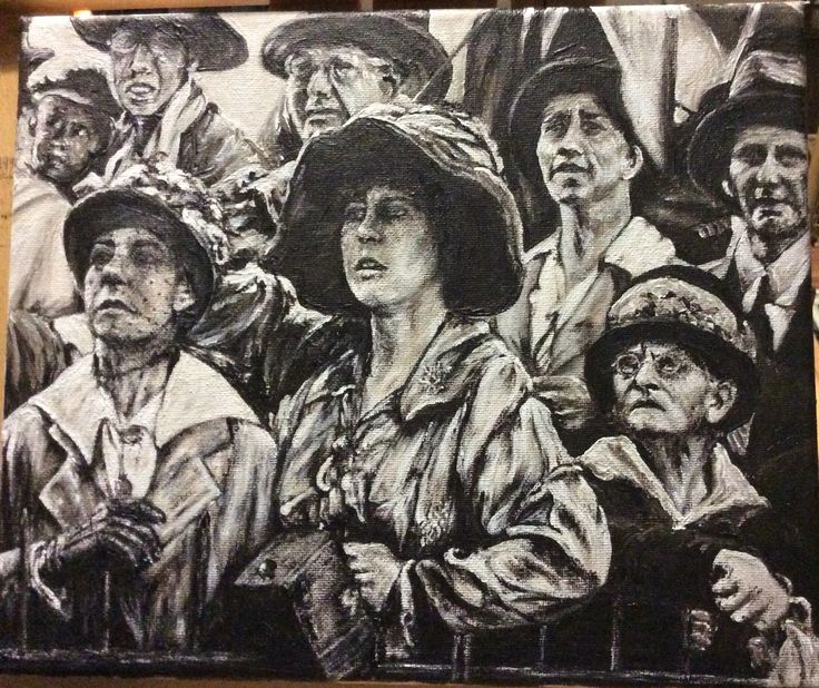 """""""Welcome Home, Sydney wharf 1918"""" People at Sidney harbour greeting the boats bringing our soldiers home from WW1. Acrylic on canvas by Paula Benson 2016"""