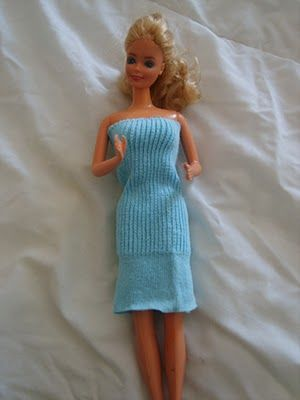 How to make a barbie dress from a sock..... DIY