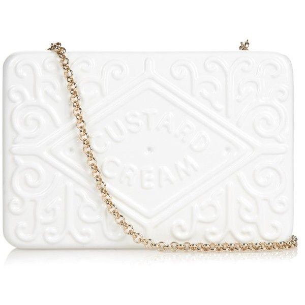 Anya Hindmarch Custard Cream brass clutch ($1,535) ❤ liked on Polyvore featuring bags, handbags, clutches, white clutches, special occasion clutches, crossbody handbags, evening handbags and special occasion handbags