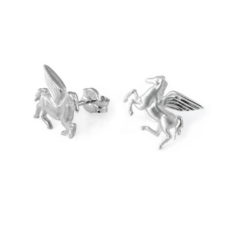 Stud Earrings Pegasus  #Tiny #Silver #Earrings #Historical #Jewelry #Mythology #Mythical #Pegasus #Horse #Unicorn #Animal
