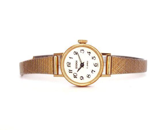 Vintage Russian Lady's watch SEKONDA Gold Plated  women's watch bracelet