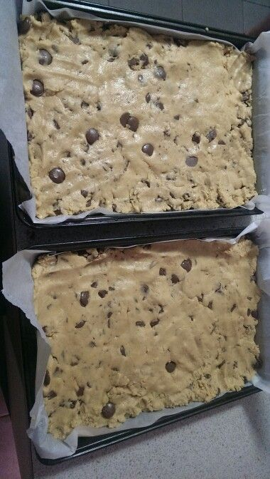 Choc chip cookie bars ready for the oven