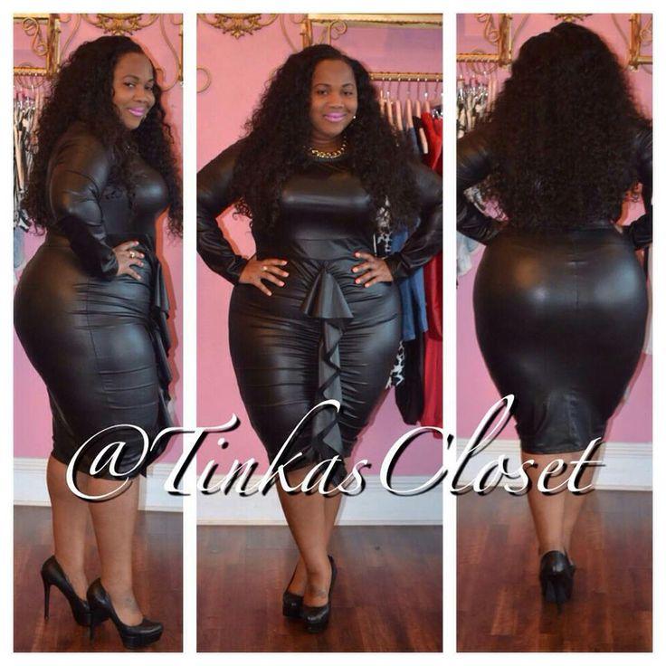 Black Faux Leather Ruffle Dress Black Bbw Pinterest Black Faux Leather Ruffle Dress And