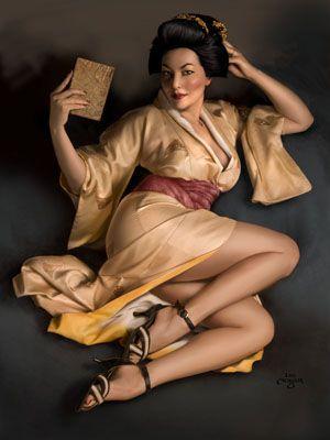 illusztráció Shikibu, nő, szerző, regény, ázsiai, japán, kimonó, szárny, haj, frizura, smink, sarkú, Fluevog, cipő, pin-up, történelmi, klasszikus, Elvgren,