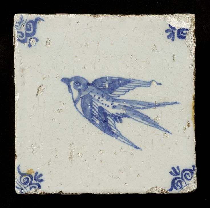 ¤ Tegel / tile  Zwaluw / swallow  / hirondelle. date :1625 - 1675 Nederland Techniek:Tinglazuur