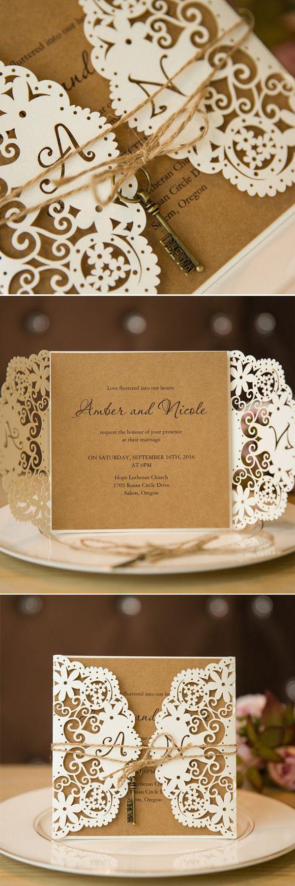 vintage doily wedding invitations%0A chic vintage laser cut wedding invitation with keys swws      stylishweddinginvitations