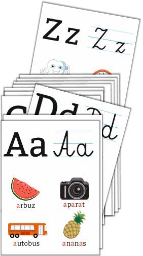"""Plansze edukacyjne """"Alfabet - literki pisane i drukowane"""" (SzkolneNaklejki.pl)"""