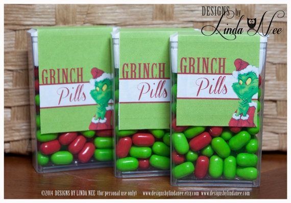 Tic Tac GRINCH PILLS - Printable tic tac labels that you attach to a pack of tic tacs! PERFECT for a gag gift or your significant other ;) They
