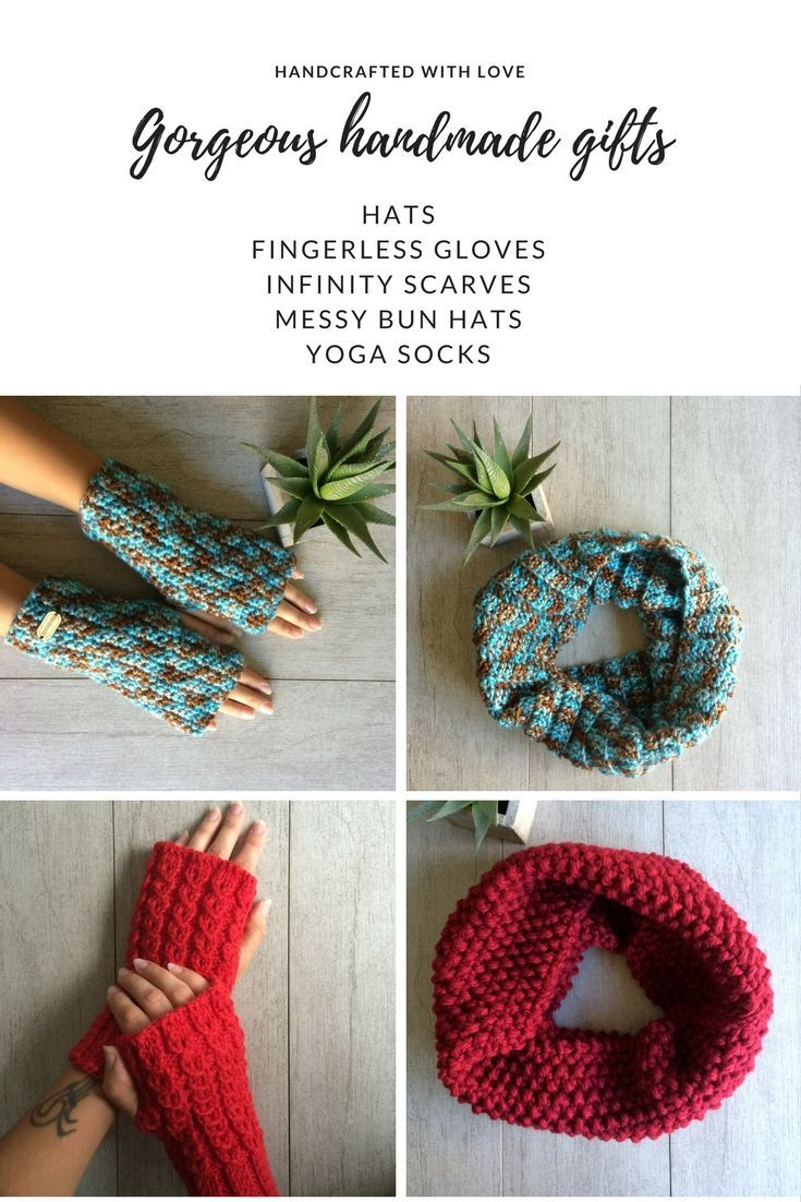 Are you ready for Holiday season? Find beautiful handmade Holiday gifts, stocking stuffers and more. Variety of fingerless gloves, infinity scarves, messy bun hats, yoga socks and more.