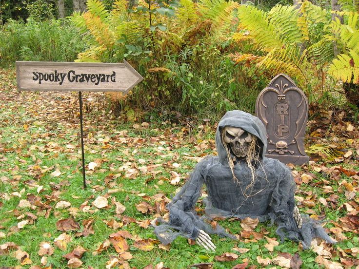 3 pc lotground breaker skeletongravestoneyard signscary halloween decor