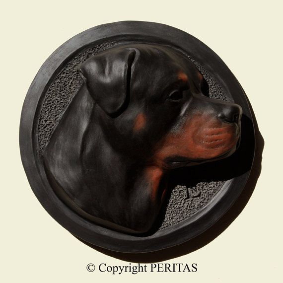Welcome to the PERITAS Canine Art Studio, the signature of Art celebrating dogs.    DESCRIPTION     * Ref. ROTT-03     * Size (height x width x depth) : 6.30 x 6.30 x 2 (16 cm x 16 cm x 5 cm).     * Material : CAST STONE (an ecological material). Our wall reliefs are NOT made of resin.     * NUMBERED and LIMITED EDITION of 300.     * My works are INDIVIDUALLY HAND CAST by my wife and me in our workshop in the Southwest of France.     * Each of our works of art is MARKED WITH OUR MONOGRAM…