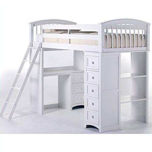 Kids School House Student Loft Bed in White