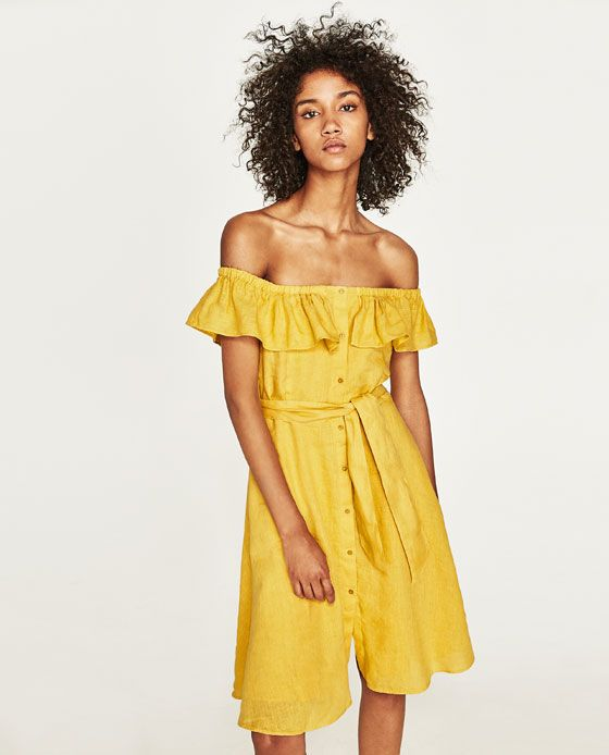 Image 4 of OFF-THE-SHOULDER LINEN DRESS from Zara