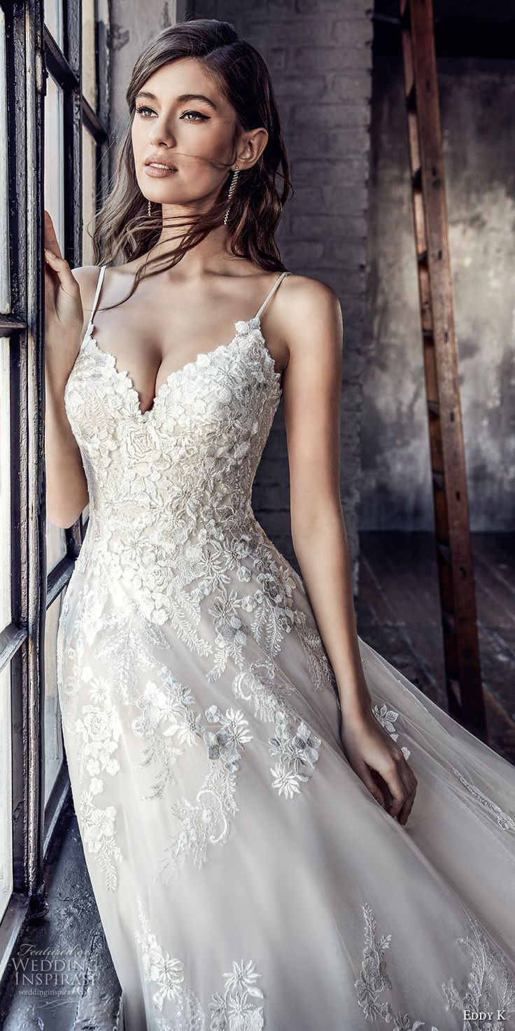 eddy k 2018 bridal spaghetti strap sweetheart neckline heavily embellished bodice romantic strap back chapel train (ct194) zv -- Eddy K. Couture 2018 Wedding Dresses