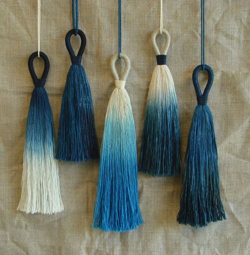 textileenthusiast:  Cathy of California - lovely deep blue tassels