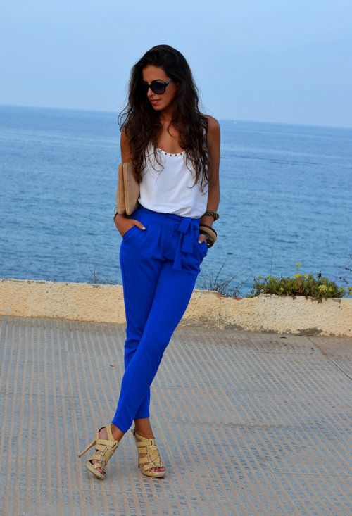 A bold color pant like these ELECTRIC BLUE PANTS  , Mango in Harem / Baggy Pants, Zara in Tunics. Choose a color that you love and gives you energy.