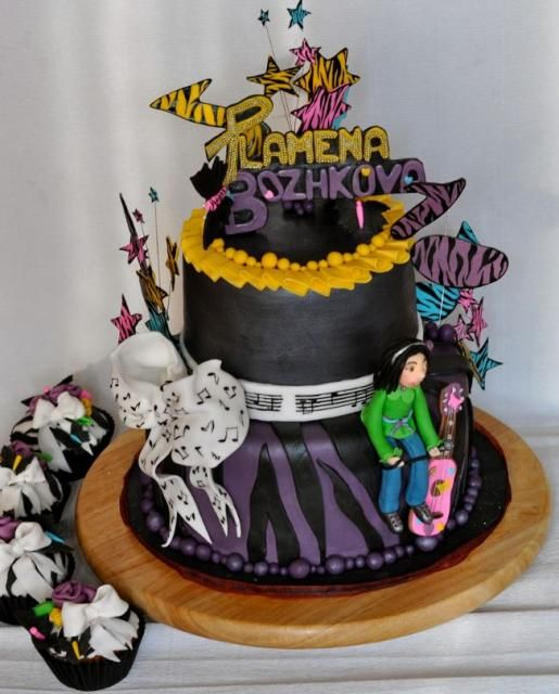Music theme 2 tier black round birthday cake for teenage ...