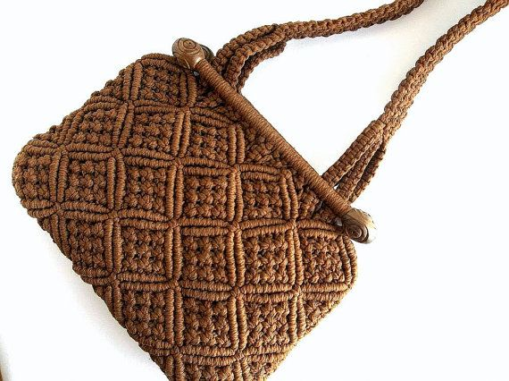 SALE Vintage 1960's Brown Macrame shoulder bag purse, Retro Boho Hippie Mod Chic handbag tote EXCELLENT