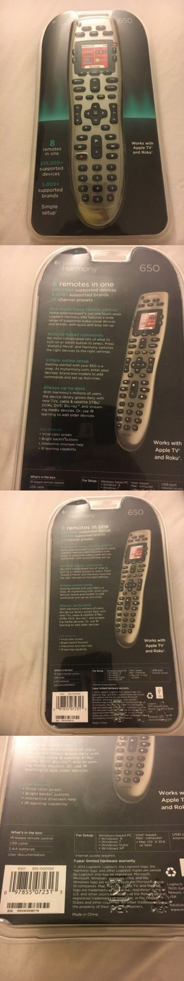 Remote Controls: * New In Box * Logitech Harmony 650 Advanced Universal Remote Control 915-000159 BUY IT NOW ONLY: $56.56