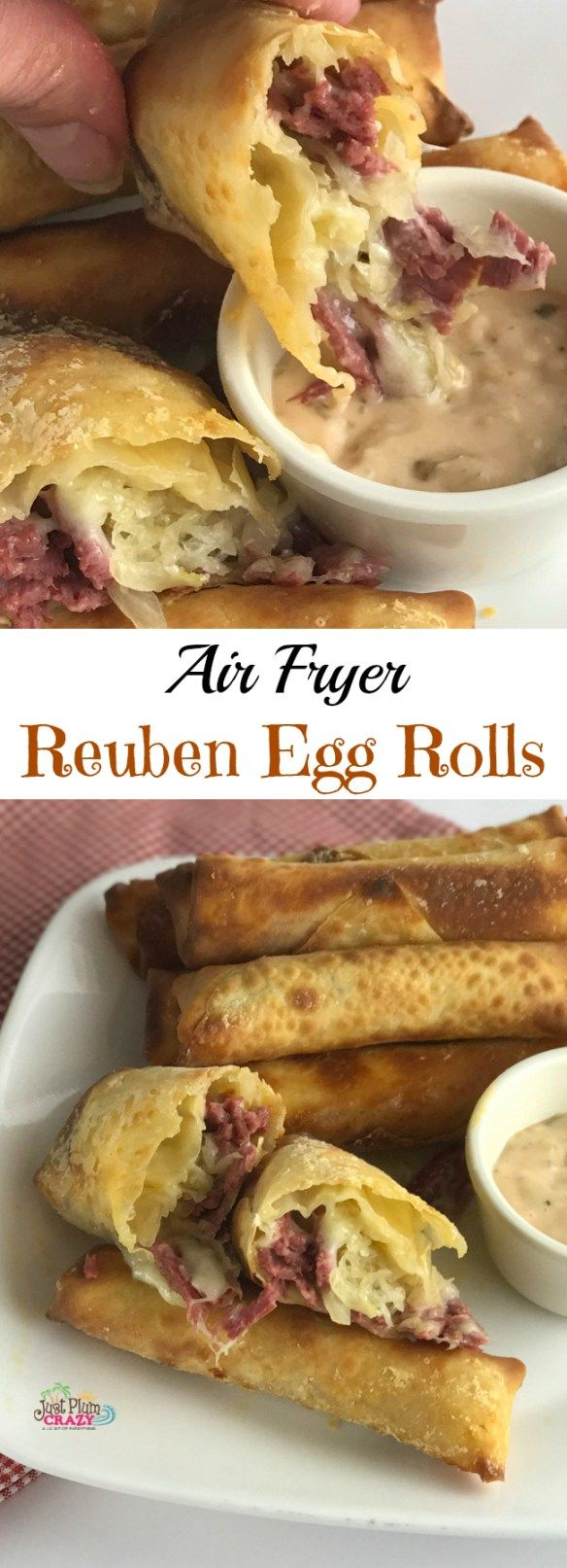 Air Fryer Reuben Egg Rolls recipe for St. Patrick's Day is filled with Corned Beef, Melted Swiss Cheese, Sauerkraut and dipped in 1000 Island dressing.