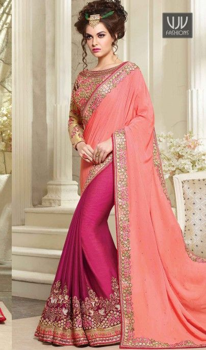 Unique Georgette Lace Work Designer Saree  Unique elegance can come out through the dressing design with this hot pink faux crepe and georgette designer saree. You could see some interesting patterns completed with embroidered, lace, resham and zari work. Comes with matching blouse  #Georgette #Sarees